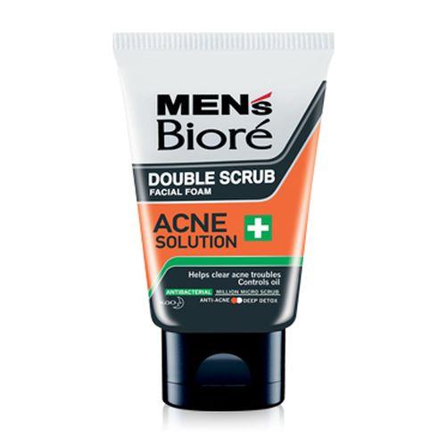 Biore Men's Double Scrub Facial Foam Acne Solution 100g